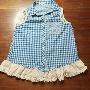 Sleeveless Blue Gingham Button Down Top Ruffle Hem
